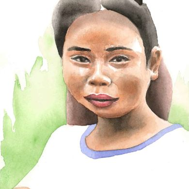Woman 16 years, 1 child. Mekong, Laos. Watercolor.
