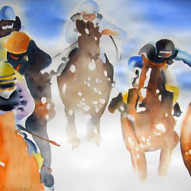 Art - White Turf St. Moritz - Urs. J. Knobel - Art and Illustration - Baar (Switzerland)
