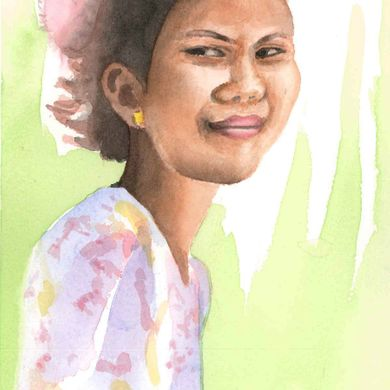 Woman 15 years, 2 children. Mekong, Laos. Watercolor.